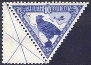 Iceland 1930 10a Gyrfalcon AIR Scott C3 MNH Cat $60