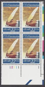 2360 Plate block 22cent U S Constitution 200years Signing
