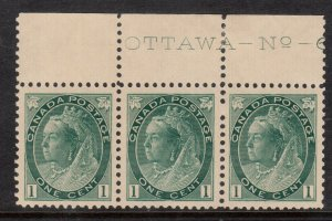 Canada #75 Very Fine Mint Never Hinged Plate Strip Of Three