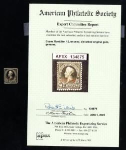 Guam Stamps # 12 Fresh Includes APS Certificate OG LH Catalog Value $350.00