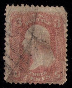 US Scott #64 Pink W/Center Crease Faults USED Very Fine