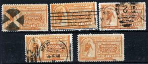 US Sc E3 VF Group 1892 10¢ Special Delivery 5 Different Cancel Study Set