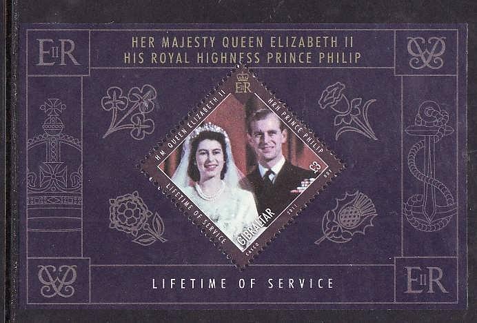 Gibraltar-Sc#1273-unused NH sheet-QEII-Prince Philip-Lifetime of Service-2011-