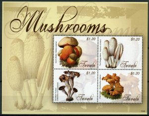 Tuvalu Mushrooms Stamps 2013 MNH Fungi Devil's Bolete Chanterelle Nature 4v M/S