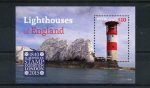 Nevis Lighthouses Stamps 2015 MNH Needles Lighthouse England Europhilex 1v S/S