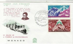 Monaco 1968 Grand Tomb of ChateauBriand Town+Sea Cancel FDC Stamps Cover Rf26185