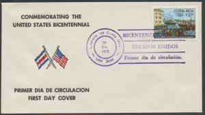 Costa Rica First Day Cover (FDC) Scott C680 - United States Bicentennial | Flags