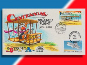 Guernsey Celebrates the Centennial of Flight on Handcolored USA/Combo FDC