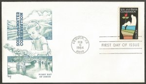US FDC,1984 SOIL & WATER CONSERVATION 20C STAMP,FIRST DAY OF ISSUE COVER,DENVER