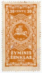 (I.B) Lithuania Revenue : Duty Stamp 30c