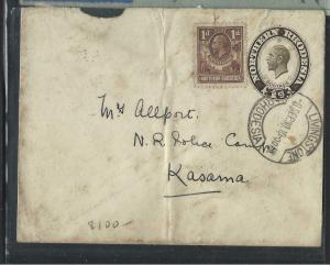 NORTHERN RHODESIA  (P1703B)  1930 KGV PSE 1D+1D LIVINGSTONE TO KASAMA