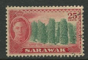 Sarawak -Scott 190 - KGVI Definitives - 1950 - VFU - Single 25c Stamp