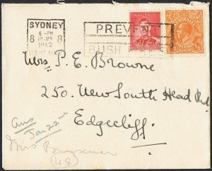 KGV ½d orange + KGVI 2d red on 1942 cover TS462