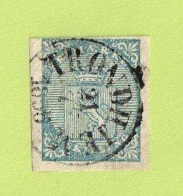 NOR SC #1 1855 Coat of Arms w/SON (TRONDHEIM / 7-21-1856), CV $165.00