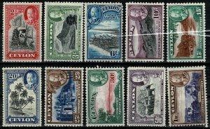 CEYLON/SRI LANKA 1935-36 KG V PICTORIAL FULL SET UNUSED SG368-378 Wmk. MSCA VGC