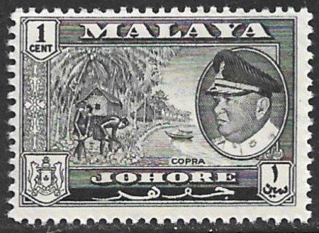 MALAYA JOHORE 1960 1c COPRA Pictorial Scott 158 MNH