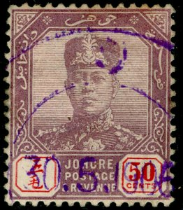 MALAYSIA - Johore SG69, 50c dull purple & red, USED. Cat £17.