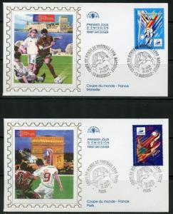 FRANCE 1997 WORLD CUP SOCCER  SET OF 4 SILK CACHET FIRST DAY COVERS