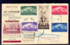 EGYPT- 1949 The 16th Agricultural and Industrial Exhibition FDC traveled to UK