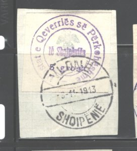 ALBANIA 1913  #25, NO GUM AS ISSUED, (C.T.O. or USED??), MH