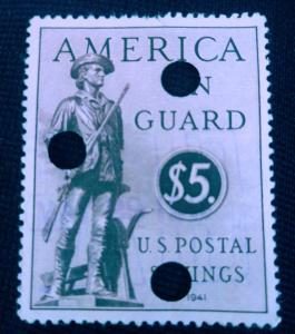 United States 1941 America on Guard Used XF ## LOOK ##  Punch out perfin cancel