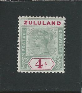 ZULULAND 1894-96 4s GREEN & CARMINE MM SG 27 CAT £150