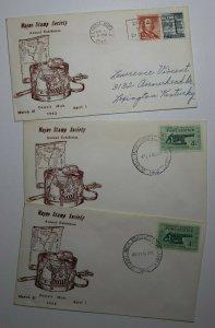 Wayne Stamp Society Detroit MI 1962 Philatelic Expo Cachet Cover Set 3