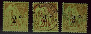 French Reunion SC#53 Mint; #54-55 Used F-VF hr SCV$31.75...Worth a Close Look!!