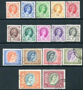 RHODESIA & NYASALAND-1954-56 Set to £1 Sg 1-15 FINE USED V24222