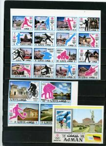 AJMAN 1971 SUMMER OLYMPIC GAMES MUNICH SET OF 20 STAMPS & S/S IMPERF. MNH