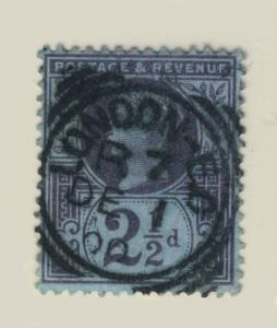 GB - 1900 - SG201 2 1/2d PURPLE/BLUE CANCELLED LONDON-EC SQUARED CDS TYPE IIB
