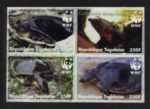 Togo WWF Senegal Flapshell Turtle 4v in block 2*2 IMPERF MI#3337-3340 SC#2039a-d