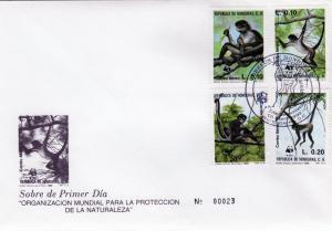 Honduras 1990 WWF Set (4) Geoffroy's Spider Monkey FDC