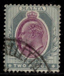 MALTA EDVII SG40, 2d purple & grey, FINE USED.