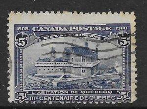 Canada 99  1908 5c average used