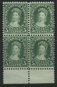 New Brunswick QV 1860 5 cents lovely block of 4 unused no gum