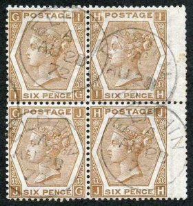 SG122a 6d Chestnut BLOCK of 4 Plate 11 cancelled with SUPERB Elphen CDS