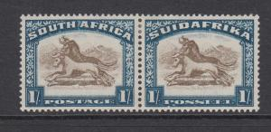 South Africa Sc 43 MLH. 1930 1sh dull blue & brown Wildebeest, VF
