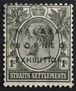 Malaya-Borneo Exhibition opt Straits Settlements KGV 1c USED Oval 0 SG#250b