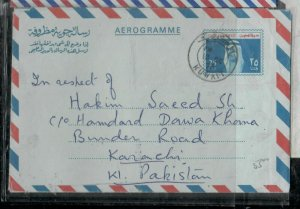 KUWAIT COVER (P0206B)1974  25F RULER  AEROGRAM   SENT TO PAKISTAN