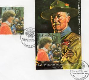 Turkmenistan 1997 PRINCESS DIANA BOYS SCOUT set+s/s Perforated in FDC