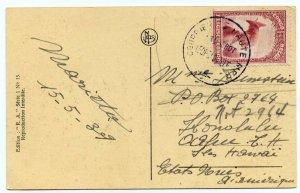 Belgian Congo 75c on post card paquebot to Hawaii, 1939