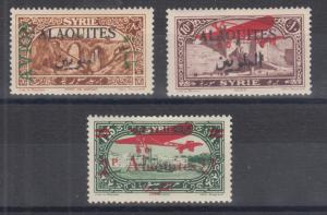 Alaouites Sc C6, C12, C20 MLH. 1925-1930 Air Post issues, 3 different, VF