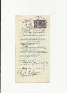 PROVINCE OF SASKATCHEWAN CANADA REGISTRATION DOCUMENT & 25 CENTS LAW STAMP