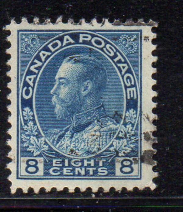 Canada Sc 115 1925 8c blue GV Admiral stamp used