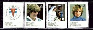 Falkland Is 1L72-75 MNH 1982 Princess Diana    (ap2781)