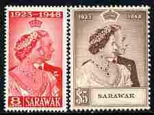 Sarawak 1948 KG6 Royal Silver Wedding set of 2 mounted mi...