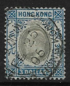 HONG KONG SG74 1903 $3 SLATE & DULL BLUE USED