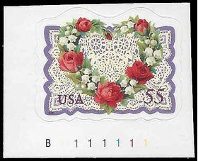 #3275 55c Love Heart & Flowers P# 1999 Mint NH