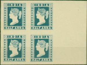 India 1891 1/2a Blue Spence Reprint V.F Block of 4